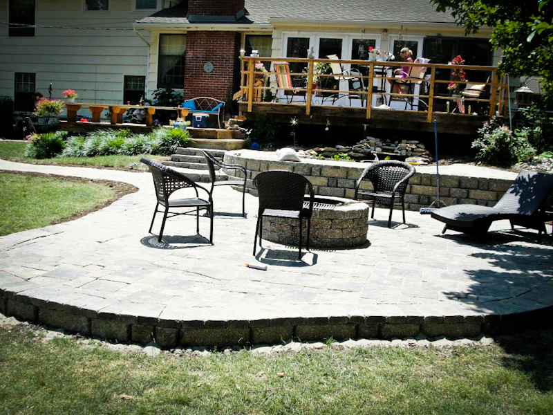 patio installation with fire pit kansas city